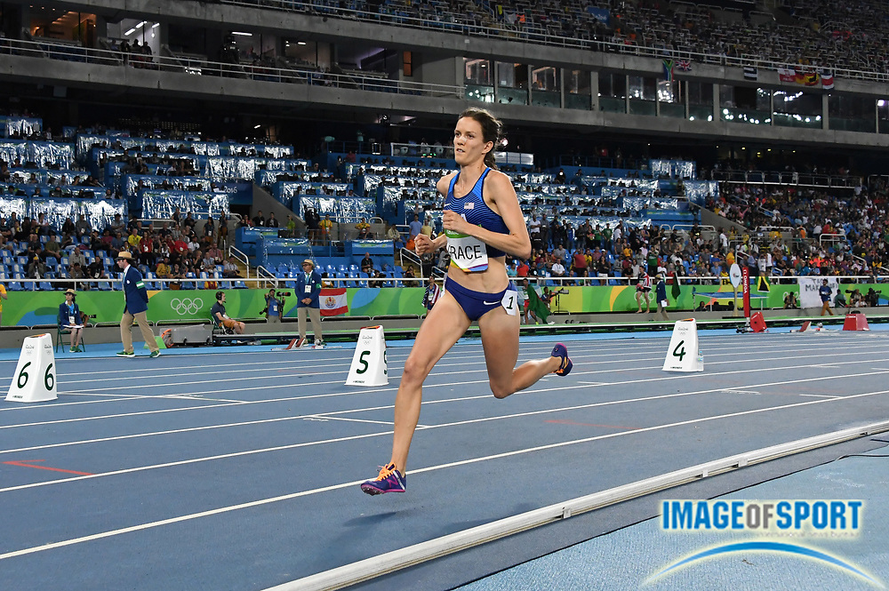 Aug 20, 2016; Rio de Janeiro, Brazil; Kate Grace (USA) places ninth in the women's 800m in 1:59.57 during the 2016 Rio Olympics at Estadio Olimpico Joao Havelange. <br /> <br /> *