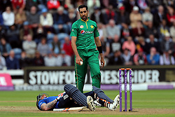 England's Ben Stokes winces in pain after being struck in the groin by a ball from Pakistan's Umar Gull during the Fifth Royal London One Day International at the SSE SWALEC Stadium, Cardiff.