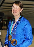 Team GB PyeongChang 2018 Winter Olympics Homecoming - Heathrow Airport, Terminal Five<br /> <br /> Lizzie Arnold of GB with her gold medals from two Winter Olympics arrives home from the Games.<br /> <br /> COLORSPORT/ANDREW COWIE