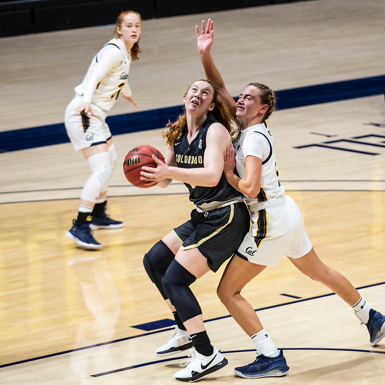 February 07 2021 Berkeley, CA  U.S.A.  Colorado Buffaloes guard Frida Formann (3) goes to the basket and scores during NCAA Women's Basketball game between Colorado Buffalo and the California Golden Bears 67-52 win at Hass Pavilion Berkeley Calif.  Thurman James / CSM