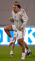 Photo: Richard Lane<br />England Training Session. 10/10/2006. <br />England's Rio Ferdinand warms up.