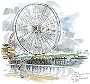 The Great Wheel on the Seattle Waterfront. <br /> <br /> Gabriel Campanario / The Seattle Times