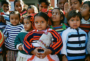 Group of Indian children attending festival