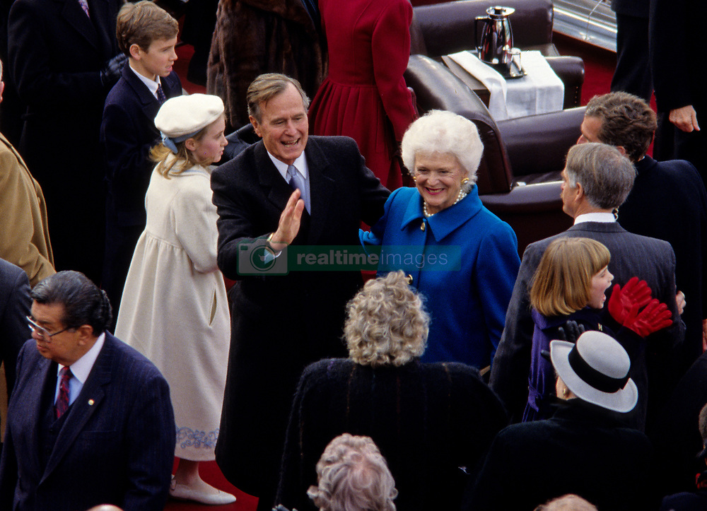 United States President George H.W. Bush and first lady Barbara Bush greet guests after he delivered his Inaugural Address following his being sworn-in as 41st President of the United States at the US Capitol on January 20, 1989. Photo by Howard L. Sachs / CNP /ABACAPRESS.COM