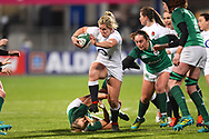 England player Male Packer runs over an Irish tackler in the first half during the Women's 6 Nations match between Ireland Women and England Women at Energia Park, Dublin, Ireland on 1 February 2019.