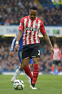 Nathaniel Clyne of Southampton looking down at the ball. Barclays Premier league match, Chelsea v Southampton at Stamford Bridge in London on Sunday 15th March 2015.<br /> pic by John Patrick Fletcher, Andrew Orchard sports photography.