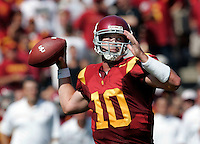 7 October 2006: Quarterback #10 John David Booty throws a pass.   NCAA College Football Pac-10 USC Trojans 26-6 win over the Washington Huskies at the LA Coliseum during a sunny saturday game in Los Angeles, CA.<br />