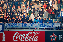 May 4, 2018 - Gent, BELGIUM - Gent's supporters showing a protest banner against referee mistakes during the Jupiler Pro League match between KAA Gent and Sporting Charleroi, in Gent, Friday 04 May 2018, on day seven (out of ten) of the Play-Off 1 of the Belgian soccer championship. BELGA PHOTO KURT DESPLENTER (Credit Image: © Kurt Desplenter/Belga via ZUMA Press)