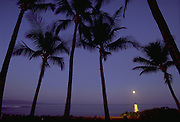 Moonset, Wailea, Maui, Hawaii, USA<br />