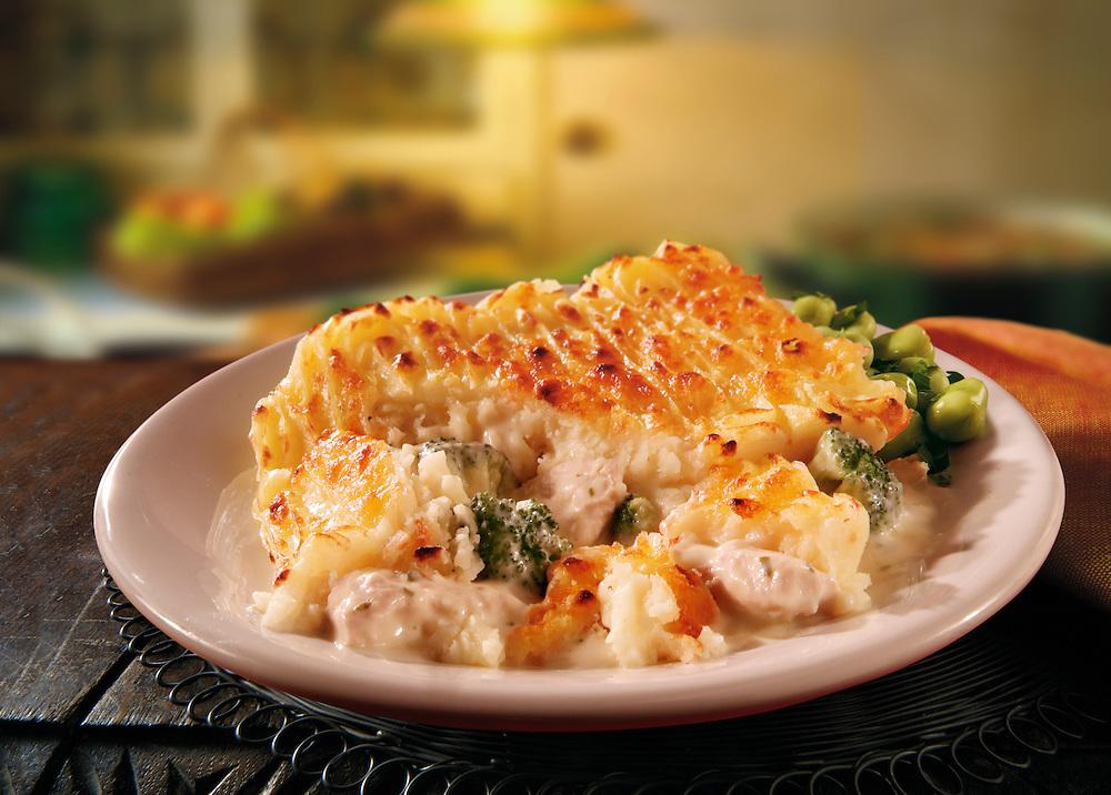 British Food - Chicken & Vegetable potato pie