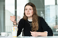 12 MAR 2020, BERLIN/GERMANY:<br /> Luisa Neubauer, Klimaschutzaktivistin, Fridays for Future, waehrend einem Interview, Redaktion Rheinische Post<br /> IMAGE: 20200312-01-064