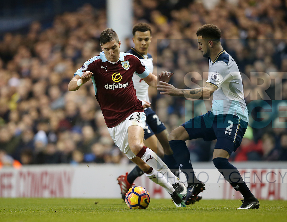 Tottenham's Kyle Walker tussles with Burnley's Stephen Ward during the Premier League match at White Hart Lane Stadium, London. Picture date December 18th, 2016 Pic David Klein/Sportimage