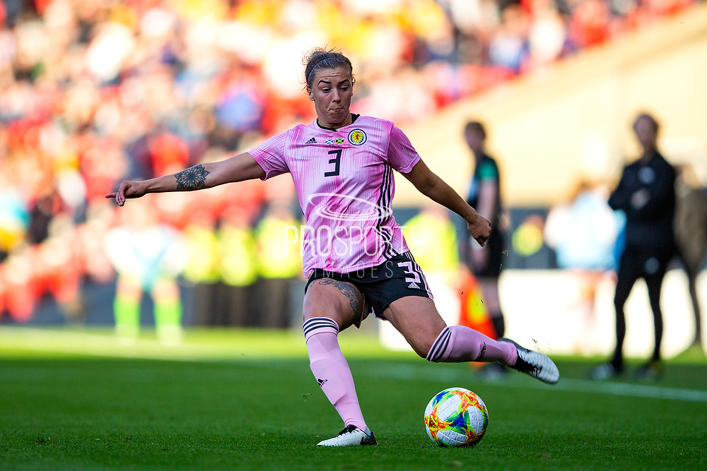 Nicola Docherty (#3) of Scotland crosses the ball into the penalty box during the International Friendly match between Scotland Women and Jamaica Women at Hampden Park, Glasgow, United Kingdom on 28 May 2019.