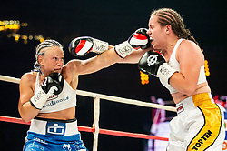 Ema Kozin of Slovenia in action against Maria Lindberg of Sweden (L) during their WBC, IBO, IBA, WBF and WIBA supermiddleweight World Championship titles fight, on October 6, 2019 in Arena Stozice, Ljubljana, Slovenia. Photo by Vid Ponikvar / Sportida