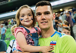 Alen Sket with his daughter during volleyball match between National teams of Slovenia and Georgia in 2nd Round of 2018 FIVB Volleyball Men's World Championship qualification, on May 24, 2017 in Arena Stozice, Ljubljana, Slovenia. Photo by Vid Ponikvar / Sportida