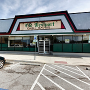Westport Thriftway grocery store former site; re-use of retail site; removal of Thriftway sign revealed the old signage and period font of the Old Westport Cash Saver.