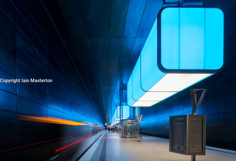Interior of Hafencity University underground station in Hamburg, Germany