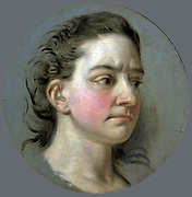 La Clairon' (1723-1803) born Clair Josephe Hippolyte Leris, French actress, for twenty-two years a leading performer at the Comedie-Franciase . Portrait by Van Loo.
