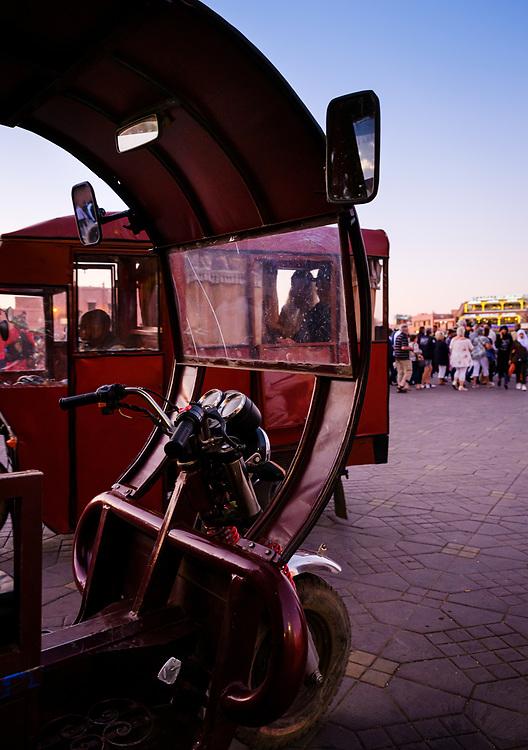 MARRAKESH, MOROCCO - CIRCA APRIL 2018: Motorbike in Jemaa el-Fnaa, Marrakesh