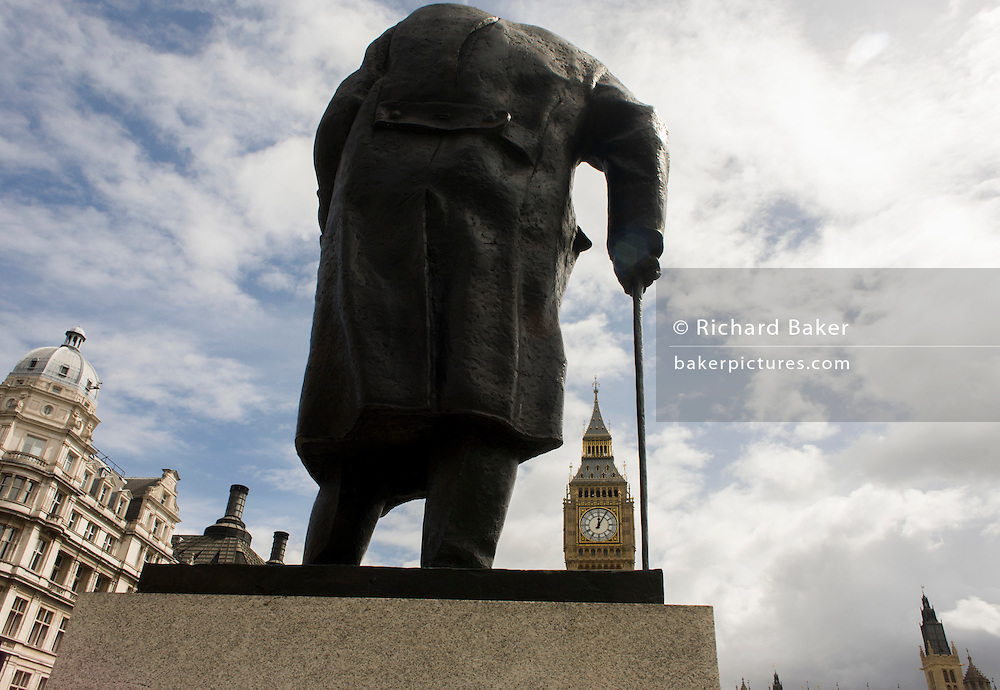 Statue of ex-Prime Minister and statesman, Winston Randolph Churchill on Parliament Square in Westminster, central London.