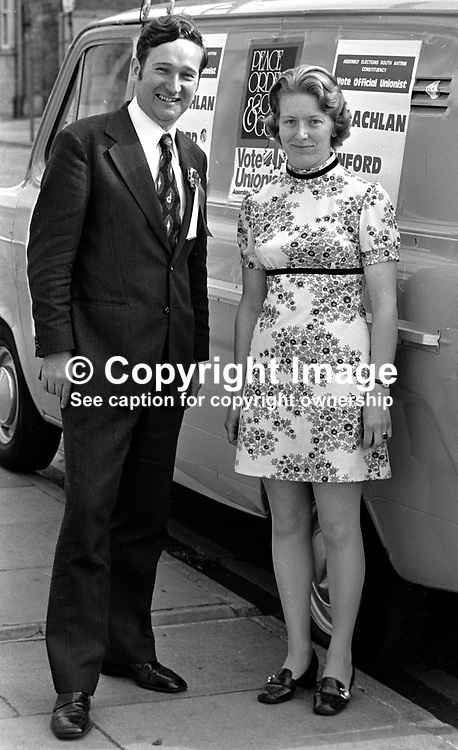Peter McLachlan, Ulster Unionist candidate, South Antrim, in the N Ireland Assembly Election, about to set off electioneering with his wife. 197306260448.<br /> <br /> Copyright Image from Victor Patterson, Belfast, UK<br /> <br /> t: +44 28 9066 1296 (from Rep of Ireland 048 9066 1296)<br /> m: +44 7802 353836<br /> e: victorpattersonbelfast@gmail.com<br /> <br /> www.images4media.com<br /> <br /> Please see my full Terms and Conditions of Use at https://www.images4media.com/p/terms-conditions - it is IMPORTANT that you familiarise yourself with them.<br /> <br /> Images used online incur an additional cost. This cost should be agreed in writing in advance. Online images must be visibly watermarked i.e. © Victor Patterson or that of the named photographer within the body of the image. The original metadata must not be deleted from images used online.<br /> <br /> This image is only available for the use of the download recipient i.e. television station, newspaper, magazine, book publisher, etc, and must not be passed on to a third party. It is also downloaded on condition that each and every usage is notified within 7 days to victorpattersonbelfast@gmail.com.<br /> <br /> The right of Victor Patterson (or the named photographer) to be identified as the author is asserted in accordance with The Copyright Designs And Patents Act (1988). All moral rights are asserted.