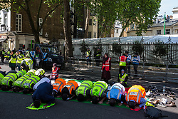London, UK. 10th June, 2018. Muslims pray outside the Saudi embassy before the pro-Palestinian Al Quds Day march through central London organised by the Islamic Human Rights Commission. An international event, it began in Iran in 1979. Quds is the Arabic name for Jerusalem.