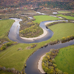 An aerial view of the Maidstone Bend section of the Connecticut River in Maidstone, Vermont.