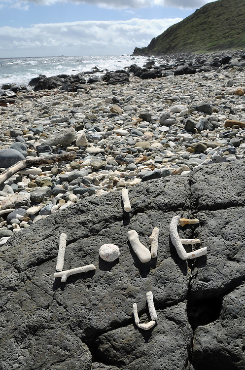 """I Love You"" written with coral.  Drunk Bay, Virgin Islands National Park.  St. John, U.S. Virgin Islands."