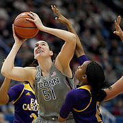 HARTFORD, CONNECTICUT- JANUARY 4: Natalie Butler #51 of the Connecticut Huskies goes to the basket while defended by Justice Gee #0 of the East Carolina Lady Pirates and Kristen Gaffney #24 of the East Carolina Lady Pirates during the UConn Huskies Vs East Carolina Pirates, NCAA Women's Basketball game on January 4th, 2017 at the XL Center, Hartford, Connecticut. (Photo by Tim Clayton/Corbis via Getty Images)