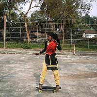 The Skater, Bangladesh by Shumi.<br /> <br /> Shumi is 11 years old, and is the only one of the girls that is enrolled in primary school. She just started class 6, and wants to be a doctor when she grows up.<br /> <br /> 50% of revenue will go directly back to Aisha to support her and her family - equivalent to two months' income for them.