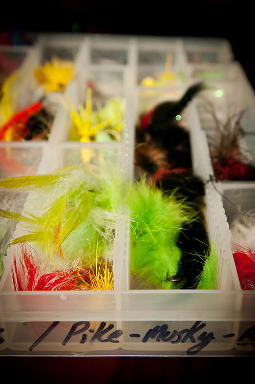 A fly box containing fishing flies for warm water species like bass, pike and musky.