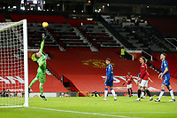 Football - 2020 / 2021 Premier League - Manchester United vs Everton - Old Trafford<br /> <br /> Everton goalkeeper Robin Olsen is beaten by the shot from Bruno Fernandes of Manchester United (unseen) to concede the second goal <br /> <br /> COLORSPORT/PAUL GREENWOOD