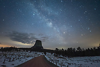 Clouds blocked much of the milky way over Devil's Tower on this chilly April night. This view is from Joyner Ridge Road.