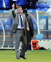 Peterborough United's manager Darren Ferguson celebrates the victory at the end of the match  - Photo mandatory by-line: Joe Dent/JMP - Tel: Mobile: 07966 386802 24/08/2013 - SPORT - FOOTBALL - Prenton Park - Birkenhead -  Tranmere Rovers V Peterborough United - Sky Bet League One