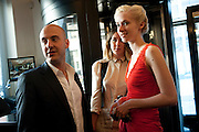 NICK ROGERS; EMILY SYKES; PORTIA FREEMAN, The launch of the Belvedere Bloody Mary Brunch to London's Caprice. Le Caprice. Arlington st. London. 7 April 2011.  -DO NOT ARCHIVE-© Copyright Photograph by Dafydd Jones. 248 Clapham Rd. London SW9 0PZ. Tel 0207 820 0771. www.dafjones.com.