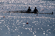 Silhouette of men's pairrs rowing team in action.