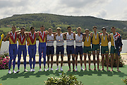 Brive, FRANCE,   Cente Gold Medalist GBR JM4-, Bow, Andrew HOLMES, Jason PHILLIPS, William PERHAM and Constantine LOULOUDIS Gold medalist men's four at 'Lac du Causse', venue for the 2009 FISA Junior World Rowing Championships,  Brive La GAILLARDE. Saturday  08/08/2009 [Mandatory Credit. Peter Spurrier/Intersport Images]