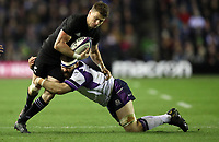 Rugby Union - 2017 Autumn Internationals - Scotland vs. New Zealand<br /> <br /> Beauden Barrett of New Zealand and Cornell du Preez of Scotland at Murrayfield.<br /> <br /> COLORSPORT/LYNNE CAMERON
