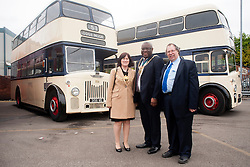 The Lord Mayor of Sheffield Councillor John Campbell Lady Mayoress Ms Catherine Anne Taylor and One of the Olive Grove Bus bus depot open day organisers Paul Beardsley (right) ..12 May 2013.Image © Paul David Drabble