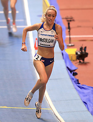 Great Britain's Eilish McColgan in action during the Women's 3000m final during day one of the 2018 IAAF Indoor World Championships at The Arena Birmingham, Birmingham.