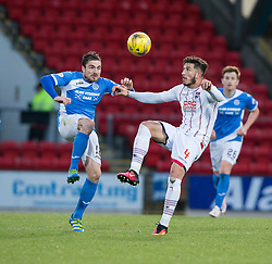 St Johnstone's Paul Paton and Ross County's Christopher Routis. St Johnstone 2 v 4 Ross County. SPFL Ladbrokes Premiership game played 19/11/2016 at St Johnstone's home ground, McDiarmid Park.