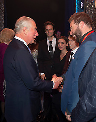 Embargoed to 0001 Tuesday November 13 The Prince of Wales meeting members of the Cast after the We Are Most Amused and Amazed performance at the London Palladium.