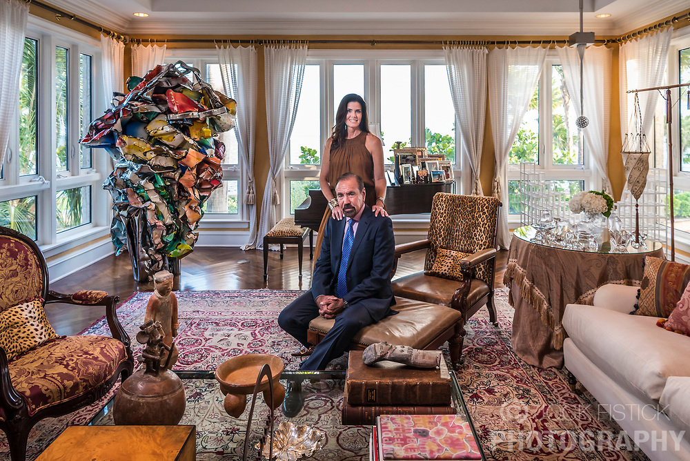 Jorge Pérez with his wife Darlene Pérez at their home in Coconut Grove. Pérez is an American billionaire real estate developer, art collector, philanthropist and author. He is best known as the chairman and CEO of The Related Group. He is ranked 264th on the Forbes 400 list with a net worth of $3 billion as of October, 2017.