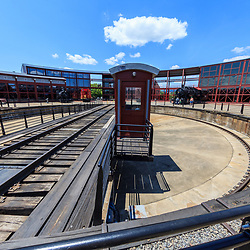 Scranton, PA - June 20, 2013: Steamtown National Historic Site is a railroad museum. Operated by the National Park Service, it includes a turntable.