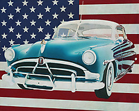 During the 1940s, Hudson was a popular family car. Well built, plenty of space and a reliable engine were the requirements of the average American just after World War II. The American economy was starting up again and people needed an affordable car and that was the Hudson Hornet. <br /> <br /> This painting of the Hudson Hornet Coupe, built in 1948, with the American flag in the background can be purchased in various sizes and printed on canvas as well as wood and metal. You can also have the painting finished with an acrylic plate over it which gives more depth. -<br /> -<br /> BUY THIS PRINT AT<br /> <br /> FINE ART AMERICA<br /> ENGLISH<br /> https://janke.pixels.com/featured/hudson-hornet-coupe-1953-with-flag-of-the-usa-jan-keteleer.html<br /> <br /> <br /> WADM / OH MY PRINTS<br /> DUTCH / FRENCH / GERMAN<br /> https://www.werkaandemuur.nl/nl/shopwerk/Hudson-Hornet-Coupe-1953-met-vlag-van-de-V-S-/665008/132?mediumId=1