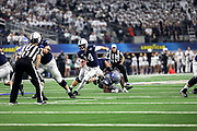 Penn State Nittany Lions quarterback Sean Clifford (14) runs pass the pressure from the Memphis Tigers defense during the game of the NCAA Cotton Bowl Classic football game, Saturday, Dec. 28, 2019, in Arlington, Texas. Penn State defeated Memphis 53-39. (Mario Terrana/Image of Sport)