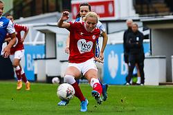 Jemma Purfield of Bristol City Women passes the ball- Mandatory by-line: Will Cooper/JMP - 18/10/2020 - FOOTBALL - Twerton Park - Bath, England - Bristol City Women v Birmingham City Women - Barclays FA Women's Super League