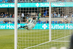 June 13, 2018 - San Jose, CA, U.S. - SAN JOSE, CA - JUNE 13: San Jose Earthquakes Goalkeeper Andrew Tarbell (28) leaps too late to prevent a score by New England Revolution Midfielder Diego Fagundez (14) during the MLS game between the New England Revolution and the San Jose Earthquakes on June 13, 2018, at Avaya Stadium in San Jose, CA. The game ended in a 2-2 tie. (Photo by Bob Kupbens/Icon Sportswire) (Credit Image: © Bob Kupbens/Icon SMI via ZUMA Press)