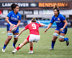 Giada Franco of Italy looks to pass<br /> <br /> Photographer Simon King/Replay Images<br /> <br /> Six Nations Round 1 - Wales Women v Italy Women - Saturday 2nd February 2020 - Cardiff Arms Park - Cardiff<br /> <br /> World Copyright © Replay Images . All rights reserved. info@replayimages.co.uk - http://replayimages.co.uk