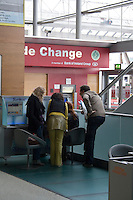 April 18th 2010 Passengers at an internet kiosk in an empty departure area at Dublin Airport as all flights in Ireland are cancelled due to the ash cloud from a volcano in Eyjafjallajokull in Iceland